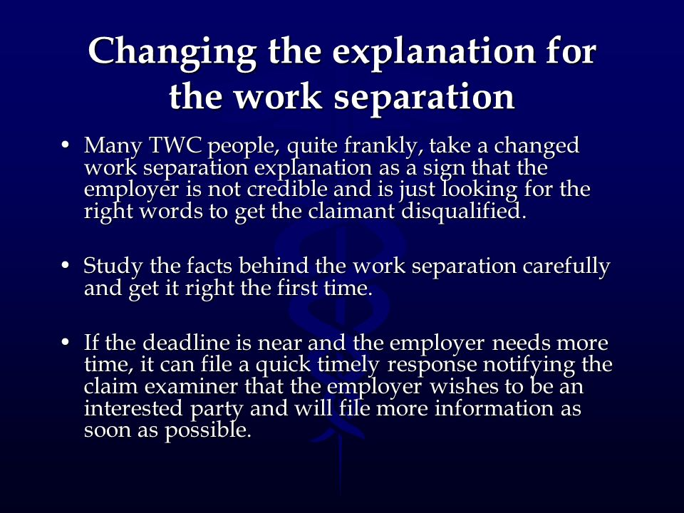 Changing the explanation for the work separation