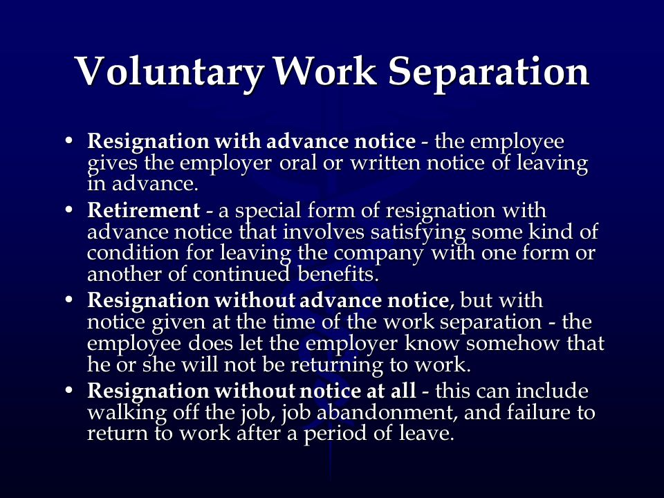 Voluntary Work Separation