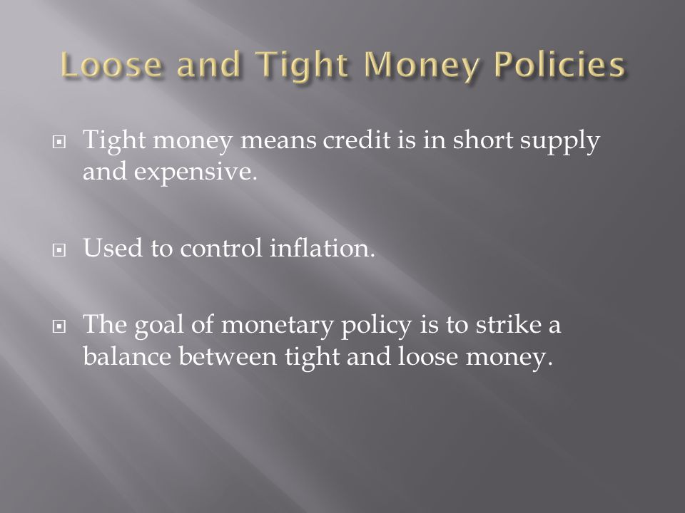 Loose and Tight Money Policies