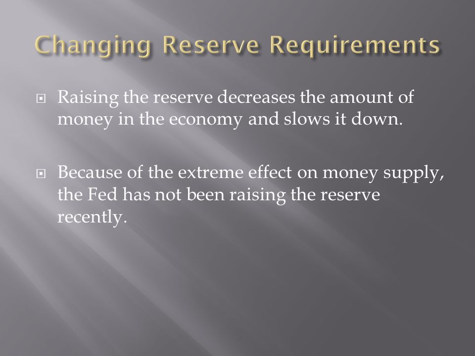 Changing Reserve Requirements