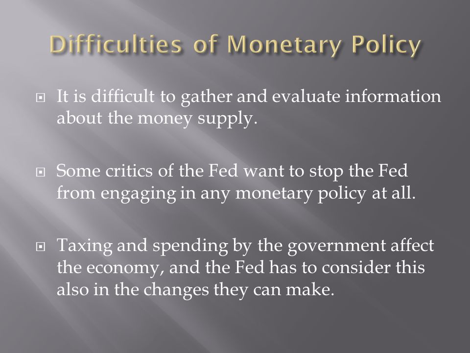 Difficulties of Monetary Policy