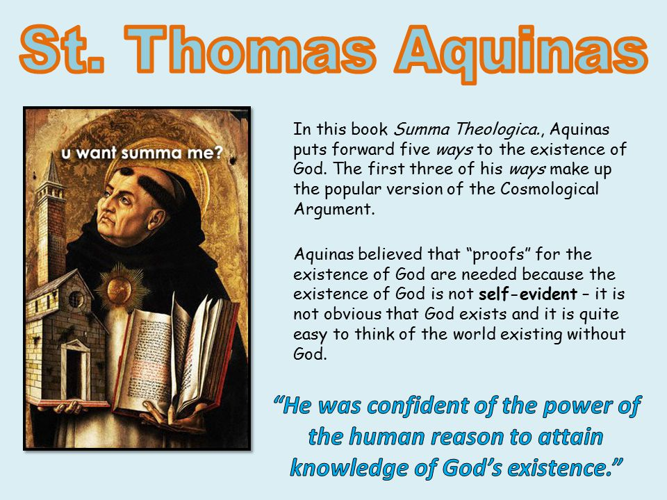 St thomas aquinas reasons why god exists
