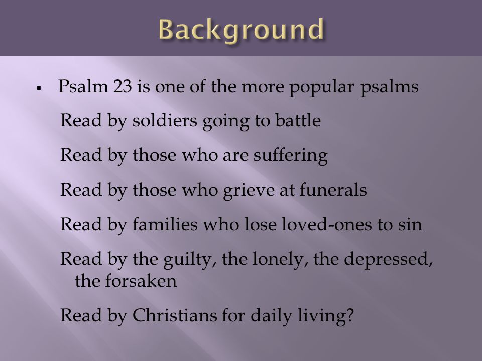 The Lord is My Shepherd Psalm 23 - Part ppt video online