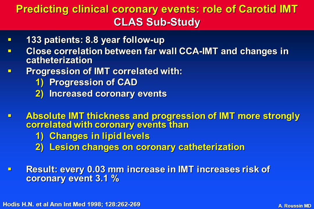 Predicting clinical coronary events: role of Carotid IMT CLAS Sub-Study