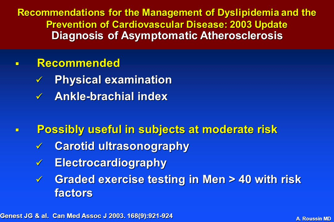 Diagnosis of Asymptomatic Atherosclerosis