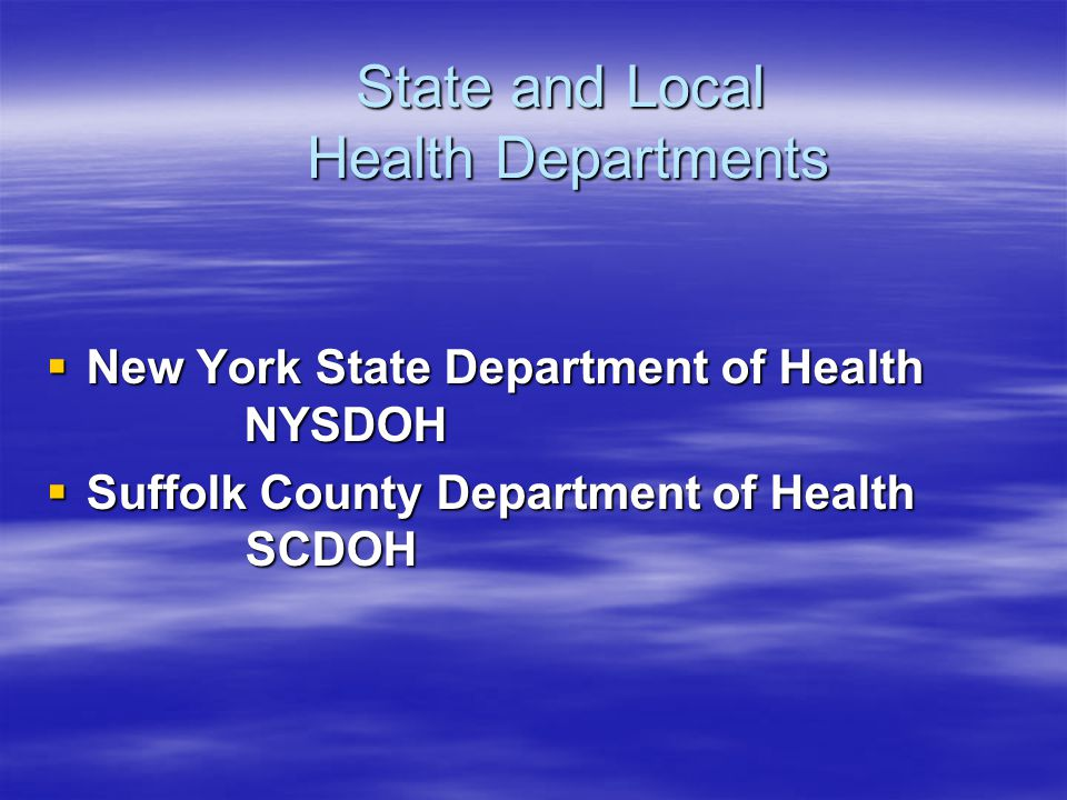 State and Local Health Departments