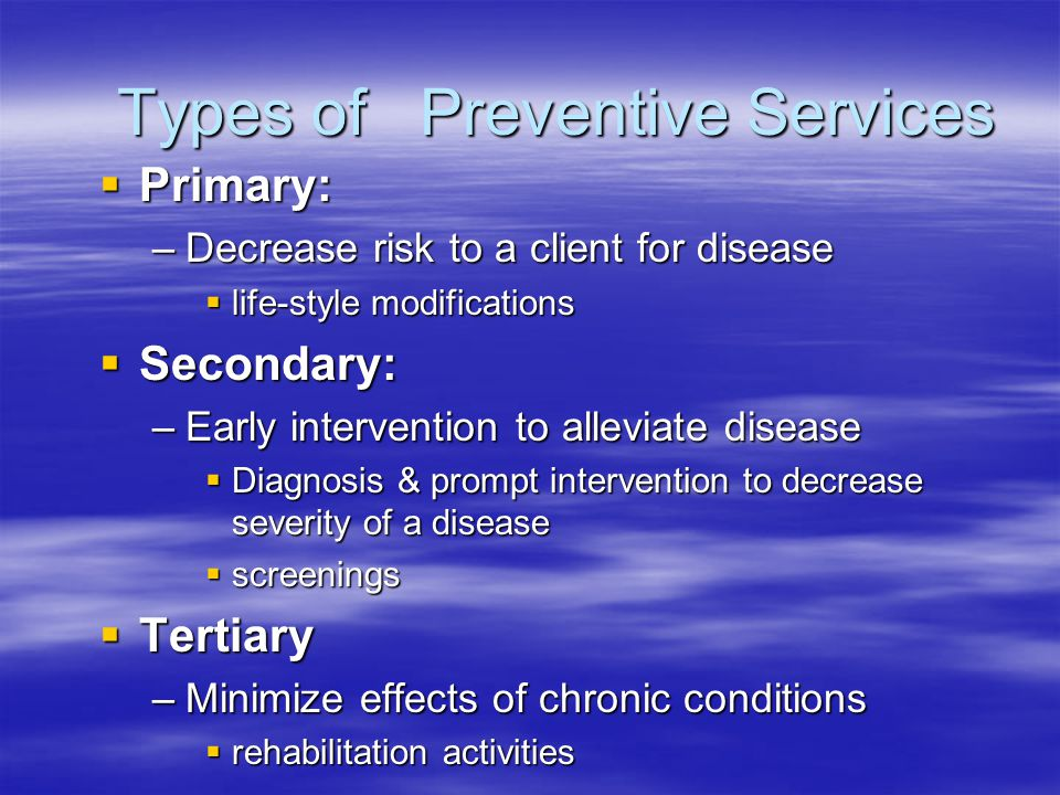 Types of Preventive Services