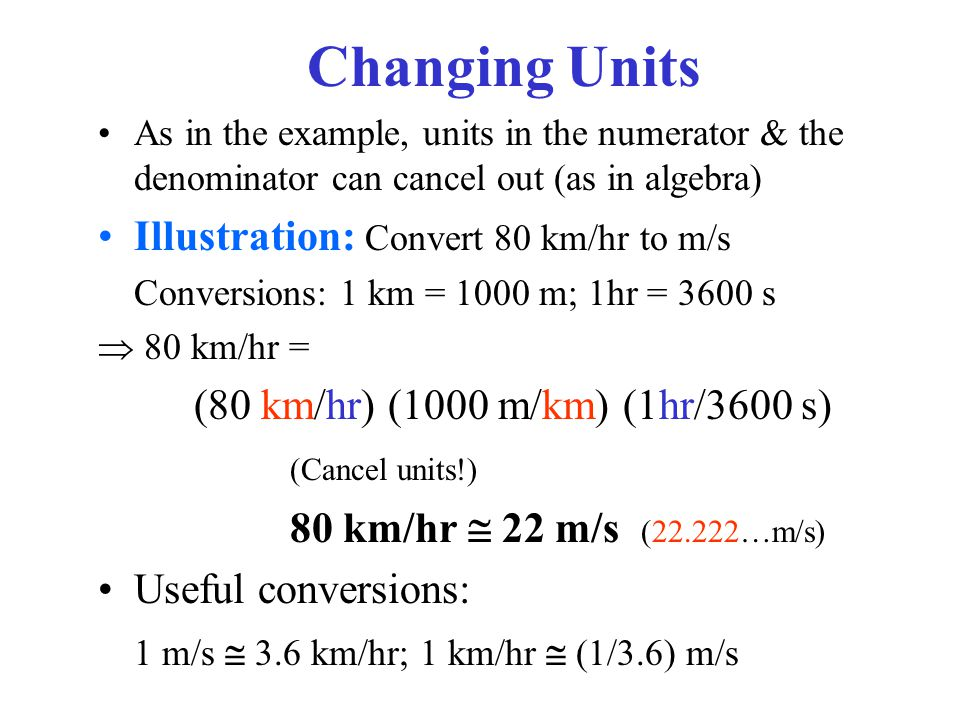 Changing Units Ilration Convert 80 Km Hr To M S