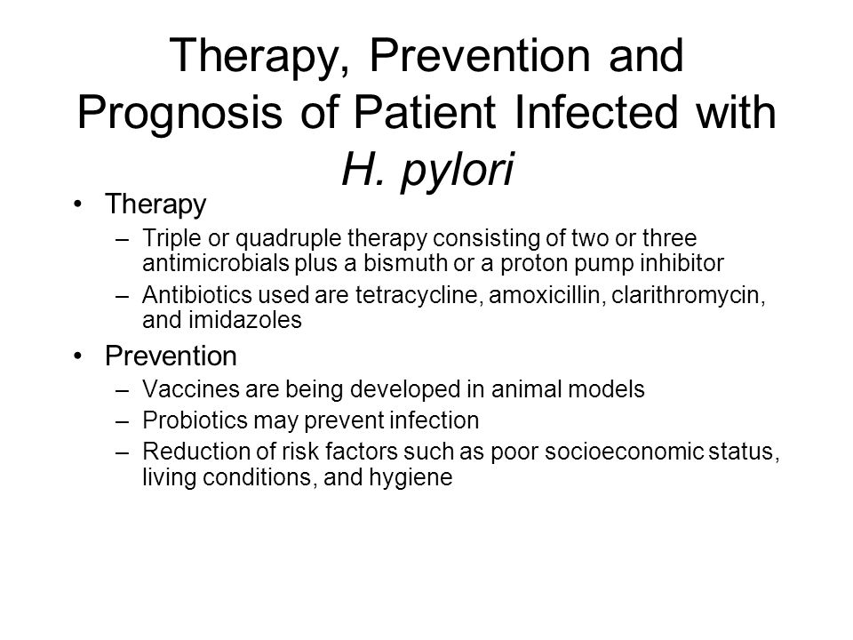 Therapy, Prevention and Prognosis of Patient Infected with H. pylori