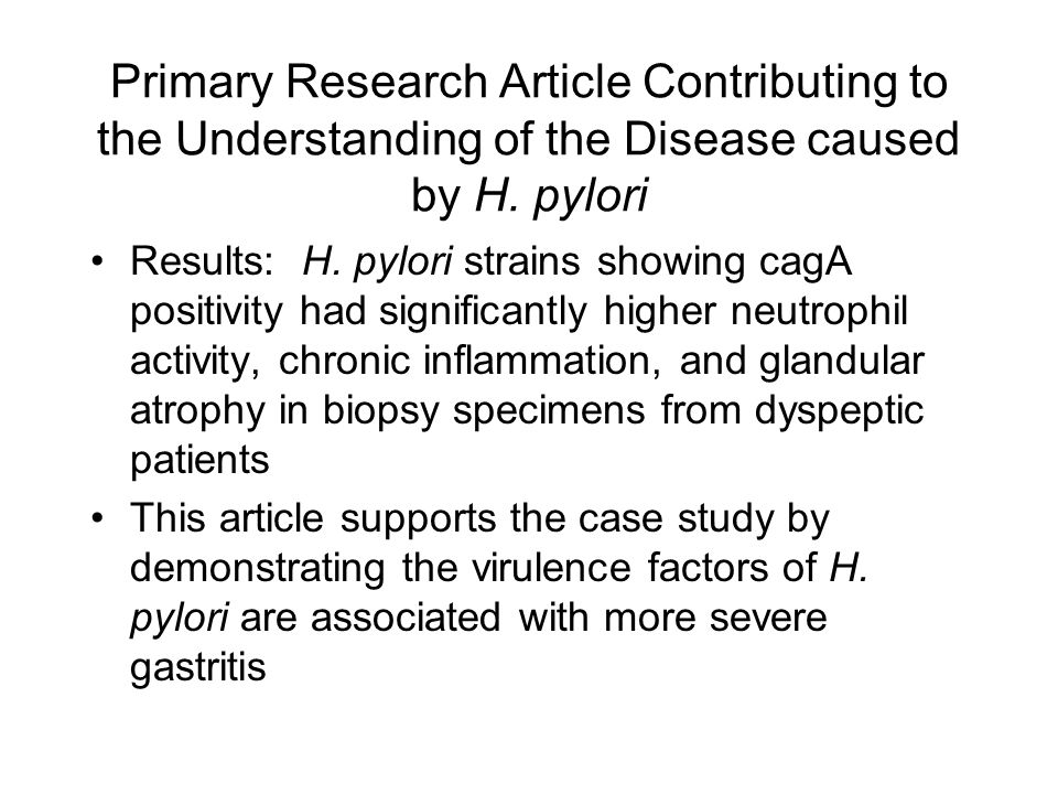 Primary Research Article Contributing to the Understanding of the Disease caused by H. pylori