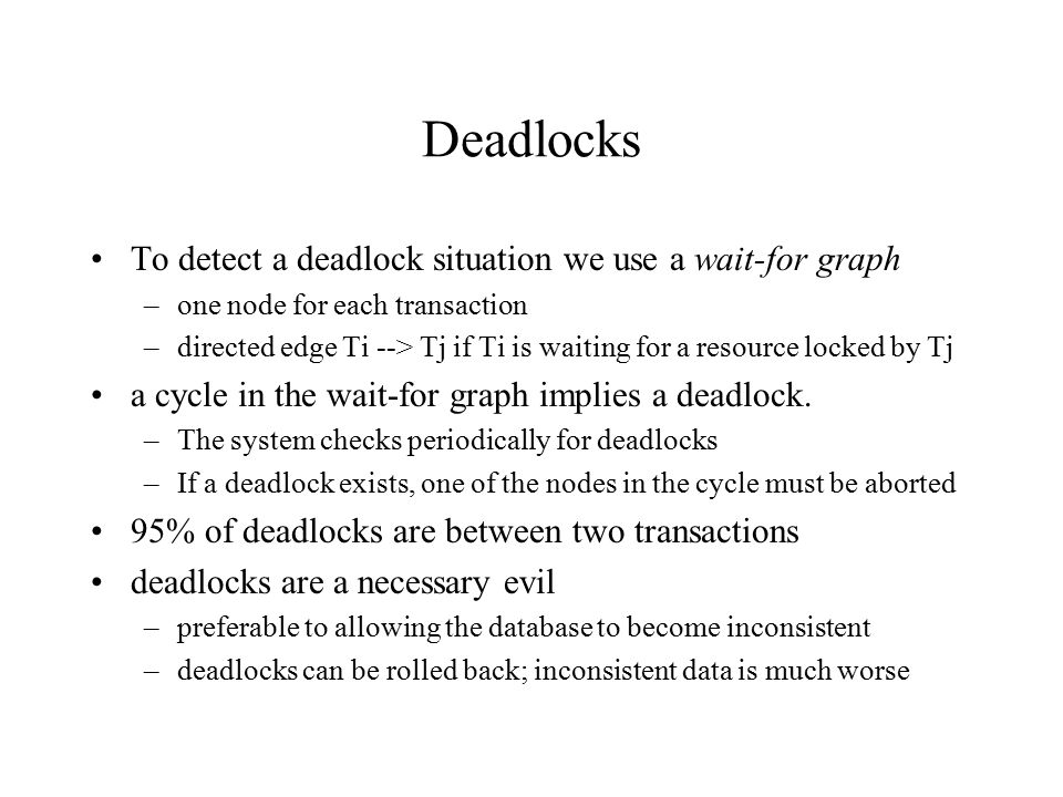 Deadlocks To detect a deadlock situation we use a wait-for graph