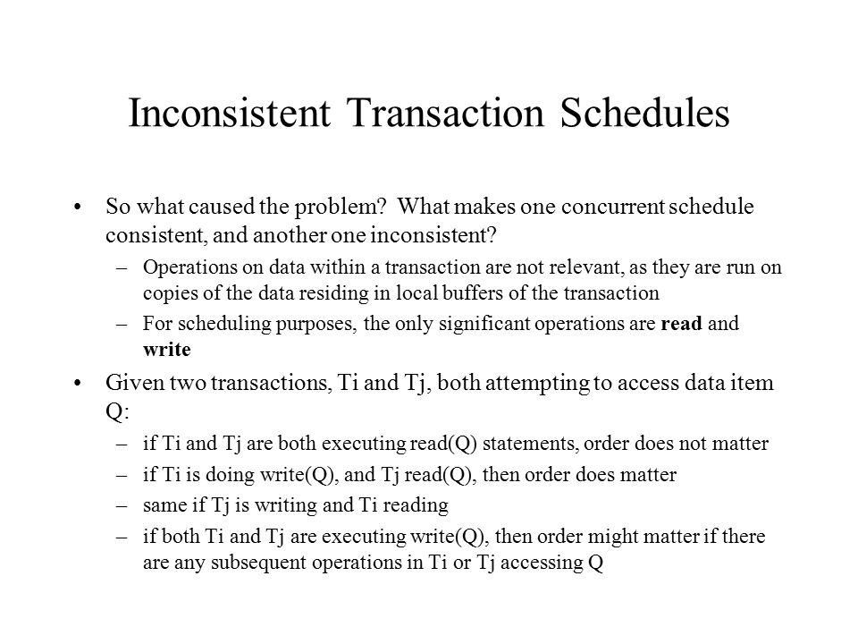 Inconsistent Transaction Schedules