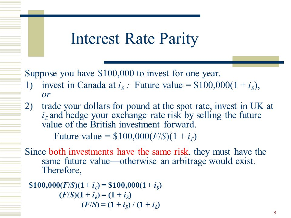 Interest Rate Parity Suppose You Have 100 000 To Invest For One Year