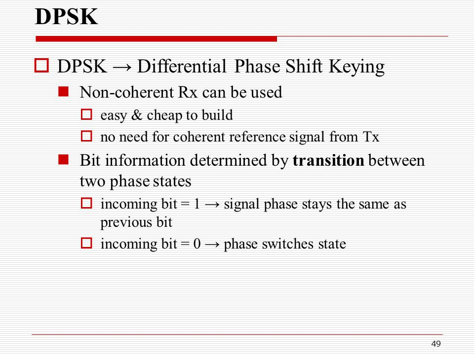 Digital communication differential phase shift keying.