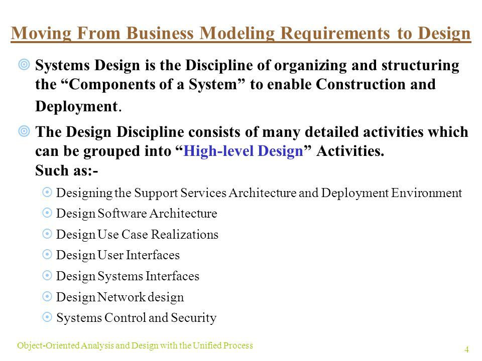 Objectives Describe The Differences Between Requirements Activities And Design Activities Explain The Purpose Of Design And The Difference Between Architectural Ppt Download