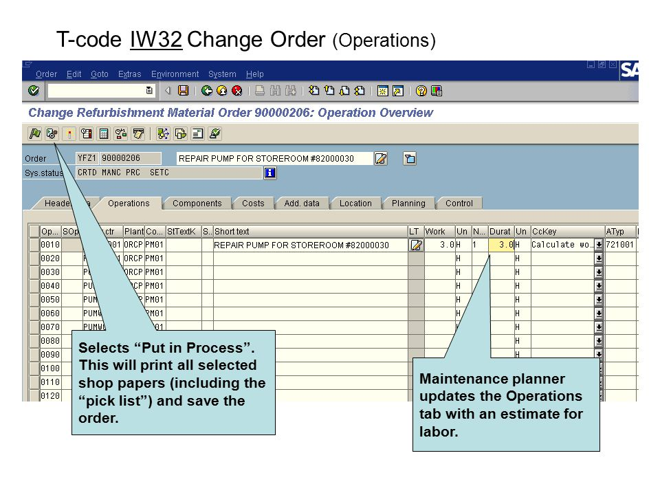 T-code IW32 Change Order (Operations)