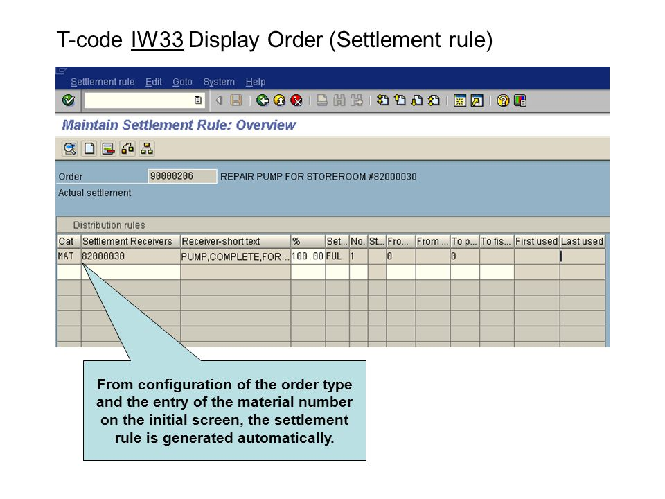 T-code IW33 Display Order (Settlement rule)