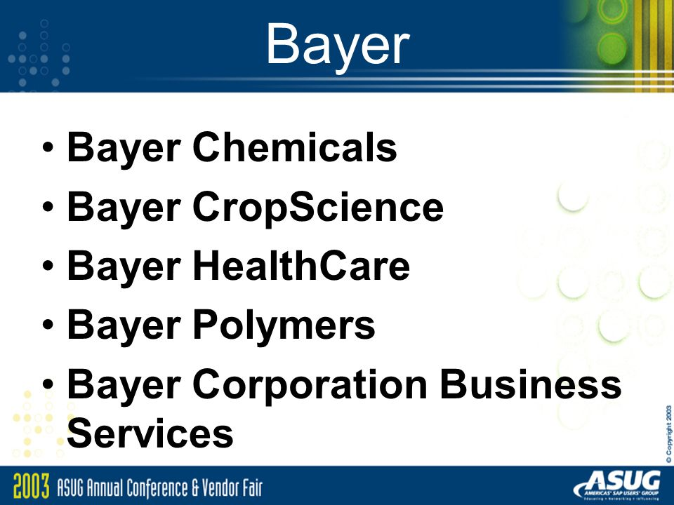 Bayer Bayer Chemicals Bayer CropScience Bayer HealthCare