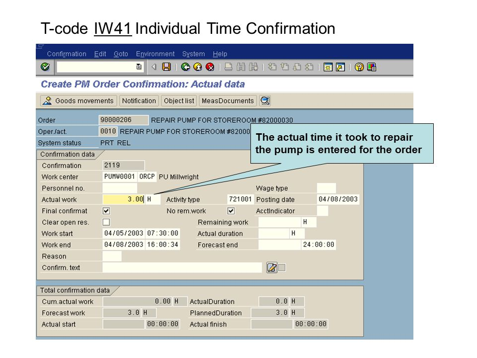T-code IW41 Individual Time Confirmation