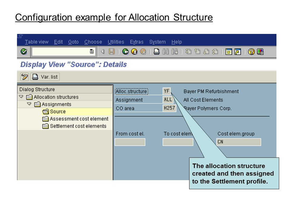 Configuration example for Allocation Structure