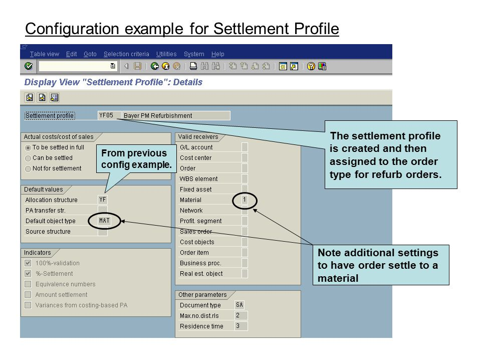 Configuration example for Settlement Profile
