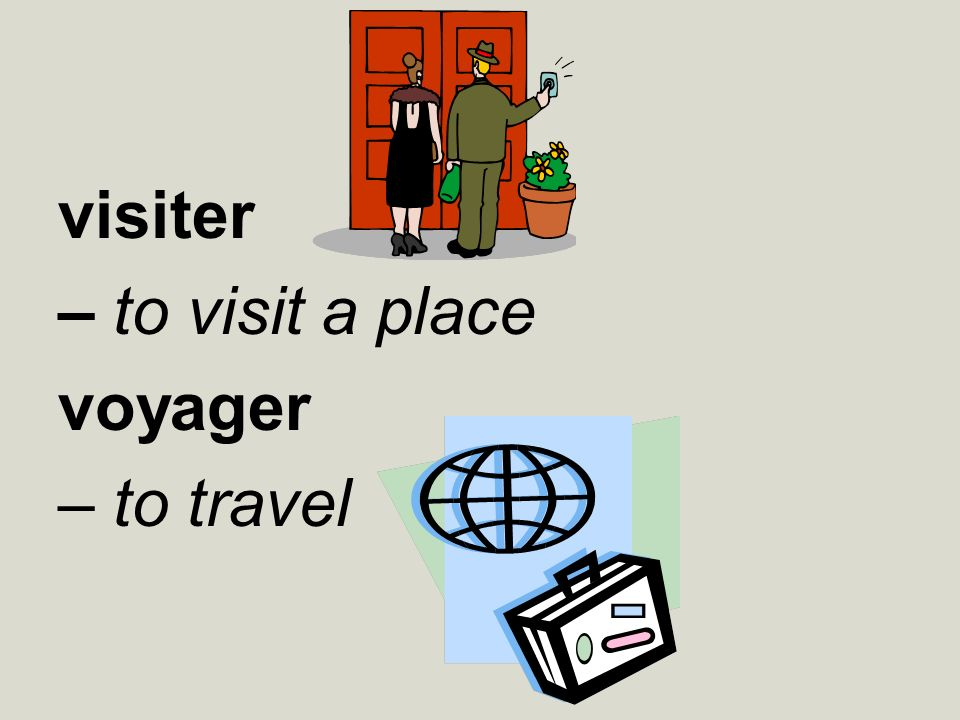 visiter – to visit a place voyager – to travel