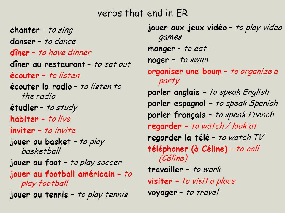 verbs that end in ER jouer aux jeux vidéo – to play video games