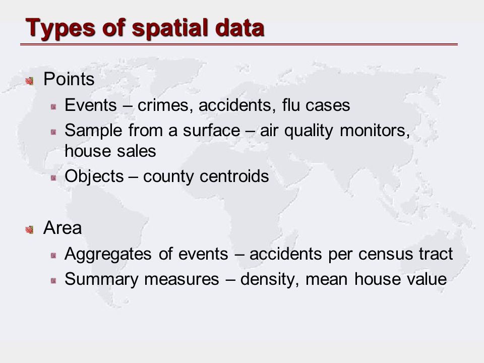 Types of spatial data Points Area
