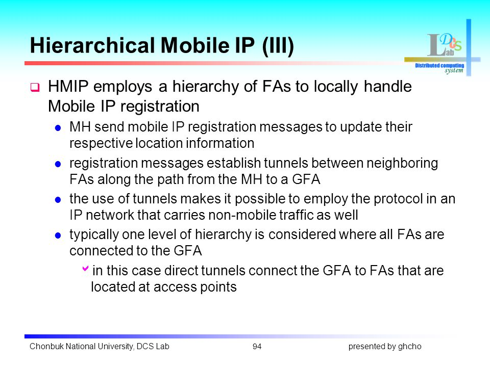 Chapter 8: mobile network layer. Introduction of mobile ip.