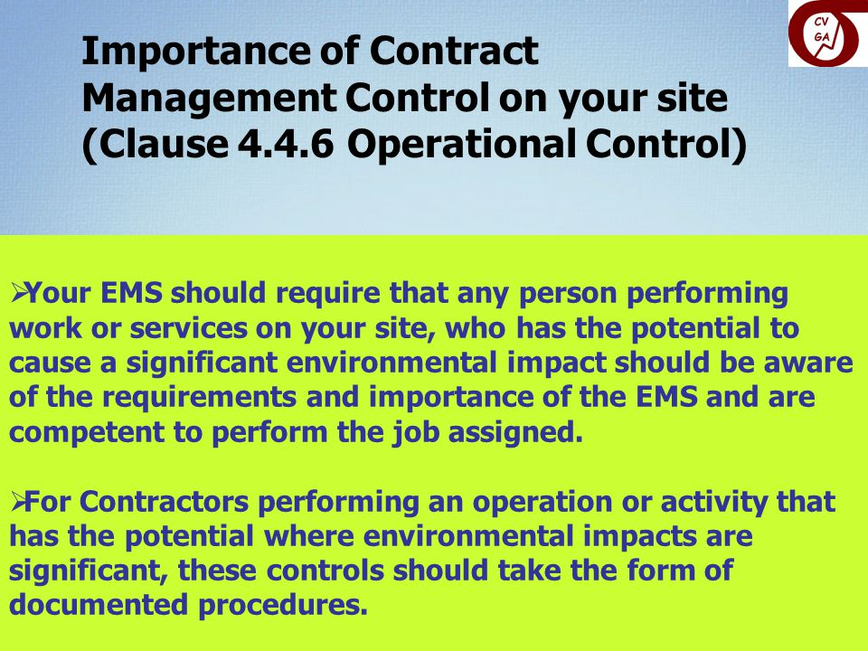 Importance of Contract Management Control on your site (Clause 4. 4