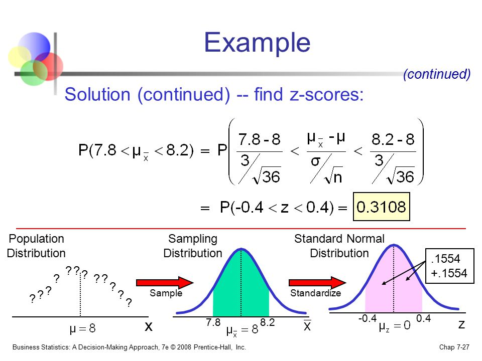 Example Solution (continued) -- find z-scores: x (continued) z