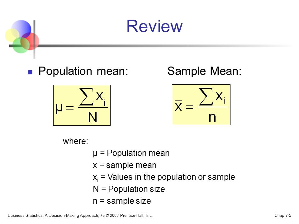 Review Population mean: Sample Mean: where: μ = Population mean