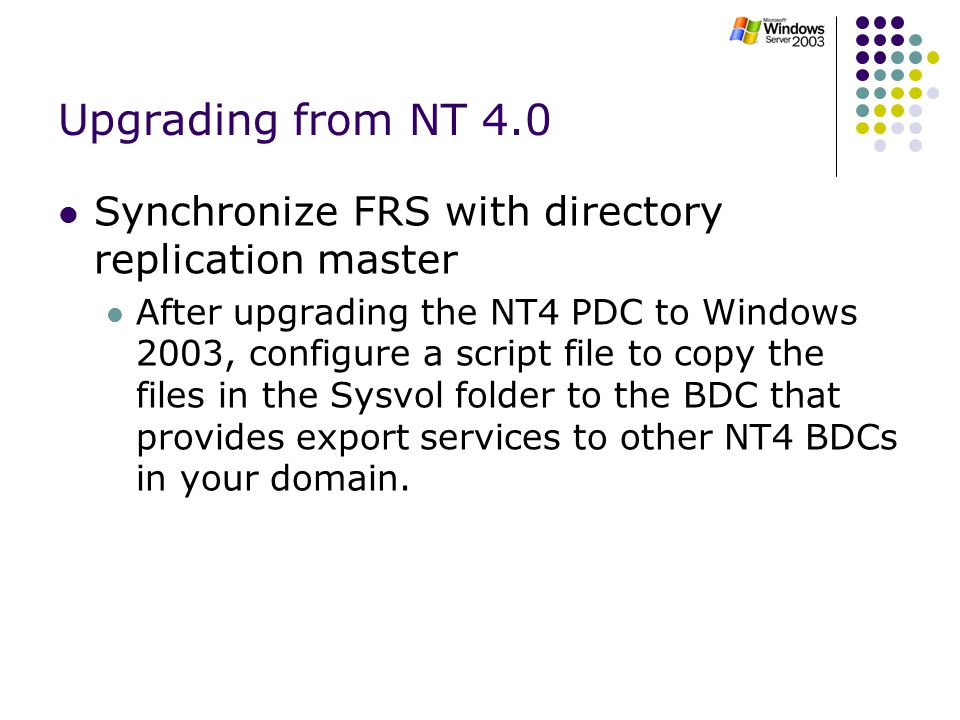 Upgrading From NT 40 Synchronize FRS With Directory Replication Master