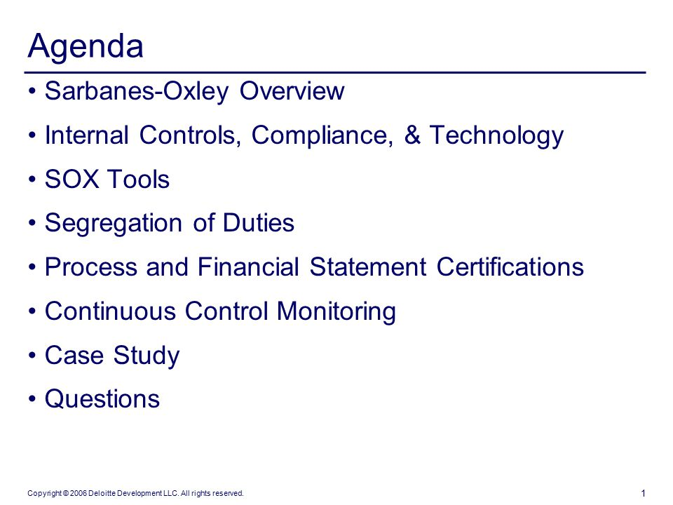 Agenda Sarbanes Oxley Overview Ppt Download