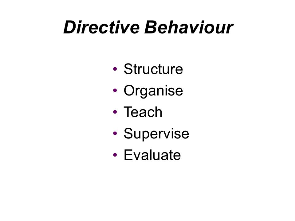 Directive Behaviour Structure Organise Teach Supervise Evaluate