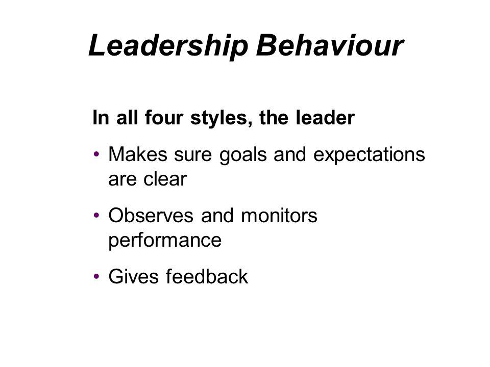 Leadership Behaviour In all four styles, the leader