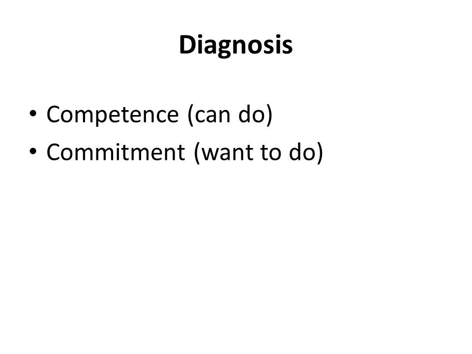 Diagnosis Competence (can do) Commitment (want to do)