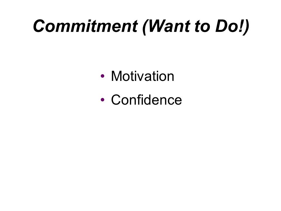 Commitment (Want to Do!)