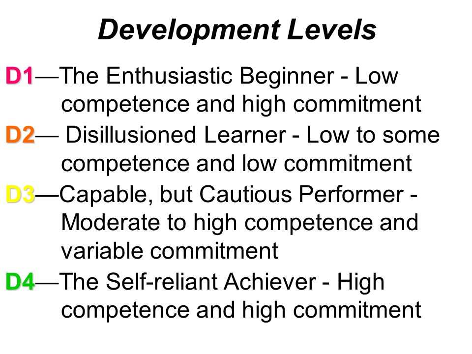 Development Levels D1—The Enthusiastic Beginner - Low competence and high commitment.