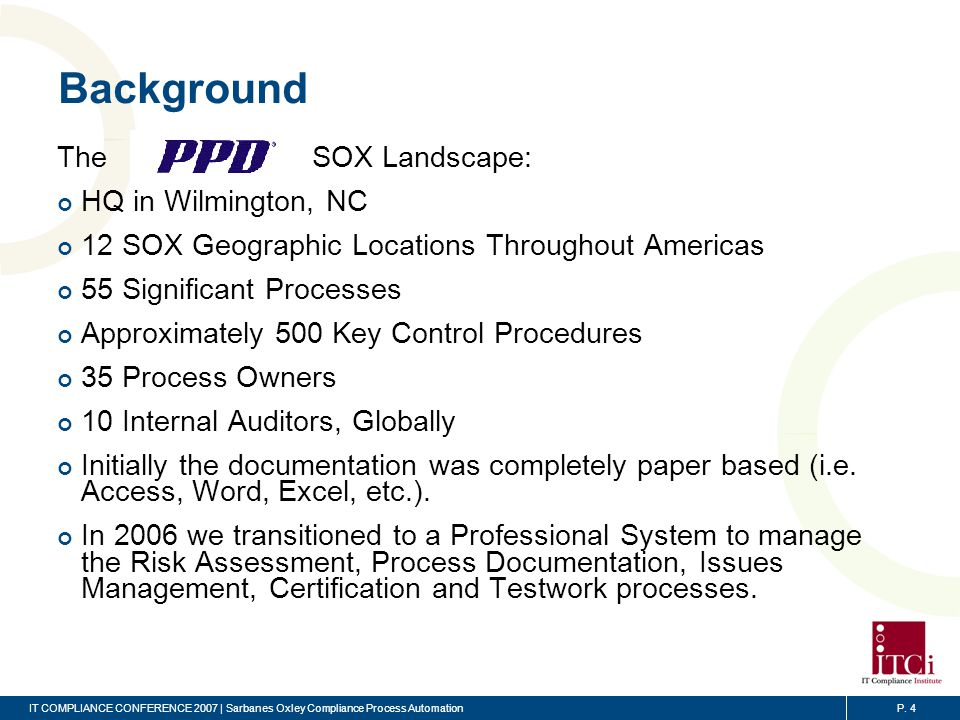 Sarbanes Oxley Compliance Process Automation Ppt Video Online Download