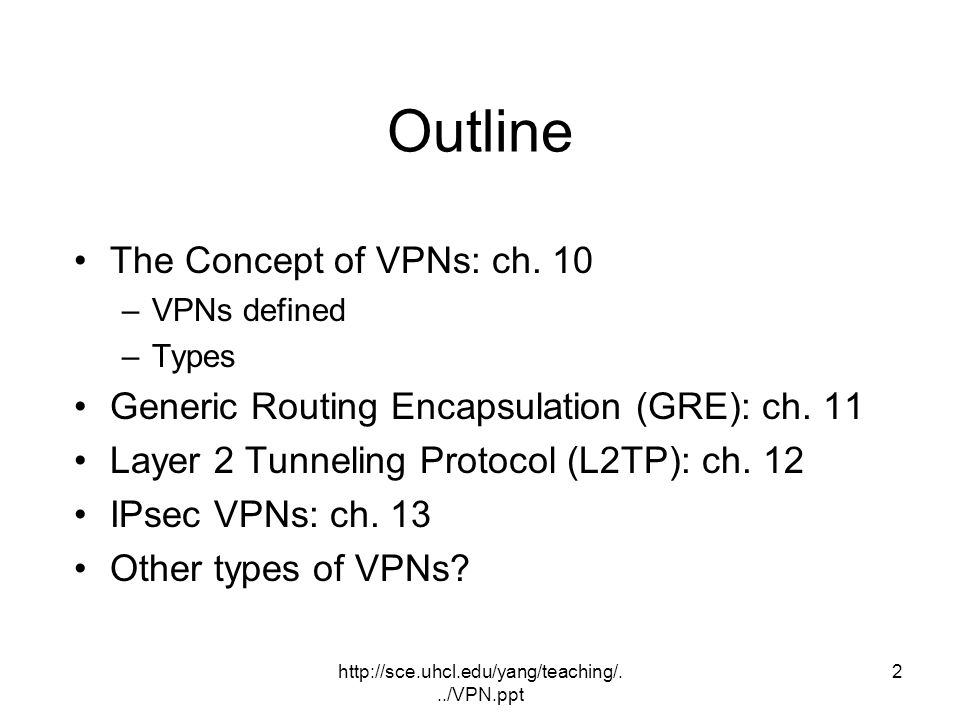Outline The Concept of VPNs: ch. 10