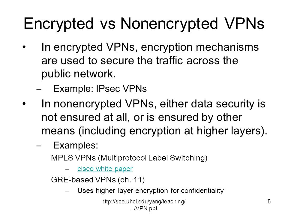 Encrypted vs Nonencrypted VPNs