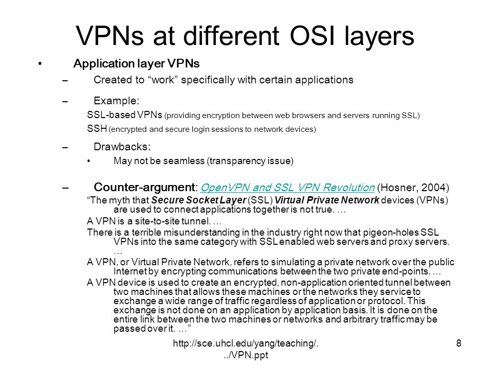 VPNs at different OSI layers