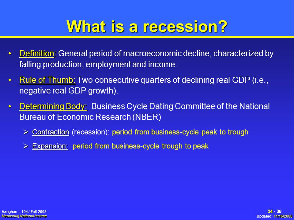 Business cycle dating committee defines a recession is a period
