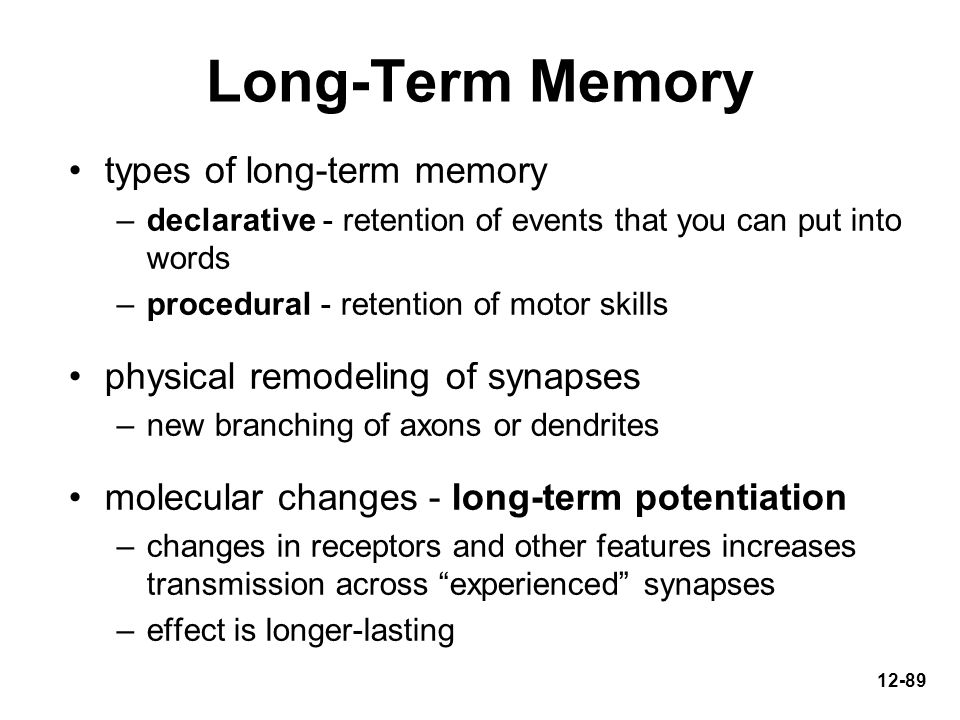 Long-Term Memory types of long-term memory
