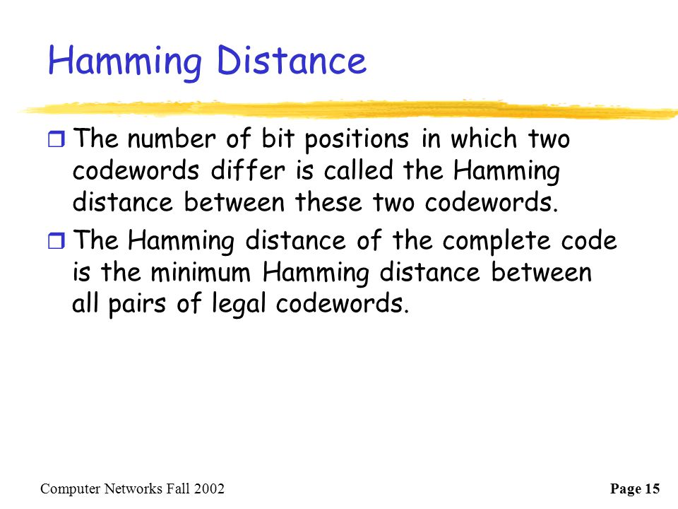 Hamming Distance The number of bit positions in which two codewords differ is called the Hamming distance between these two codewords.
