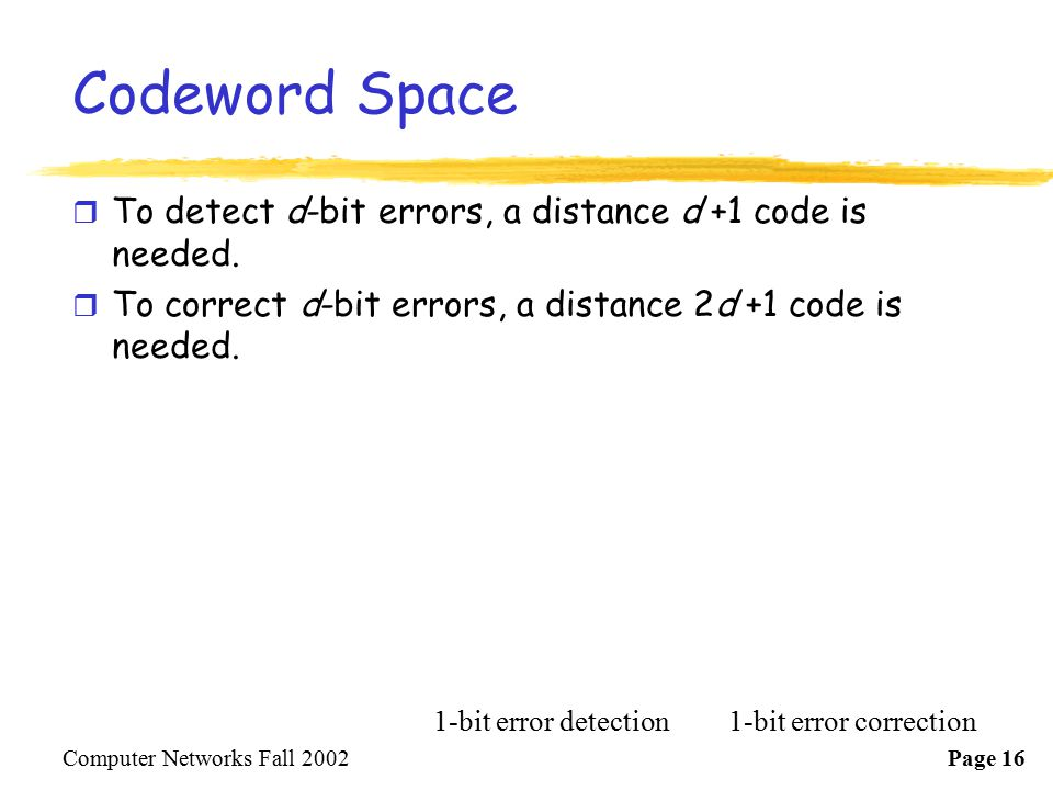 Codeword Space To detect d-bit errors, a distance d +1 code is needed.