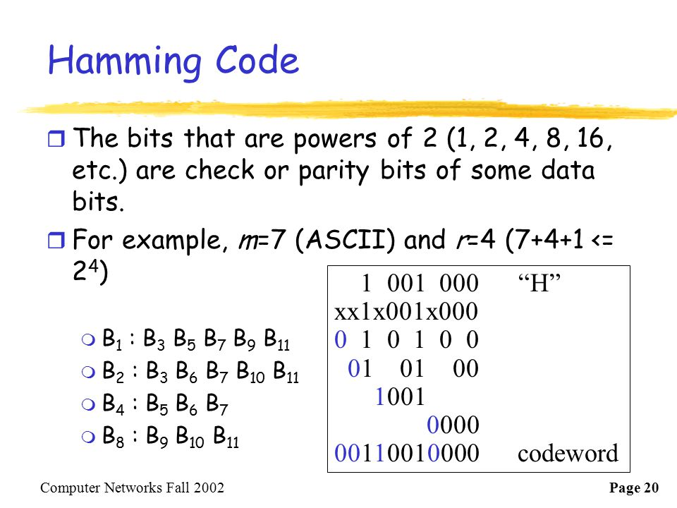 Hamming Code The bits that are powers of 2 (1, 2, 4, 8, 16, etc.) are check or parity bits of some data bits.