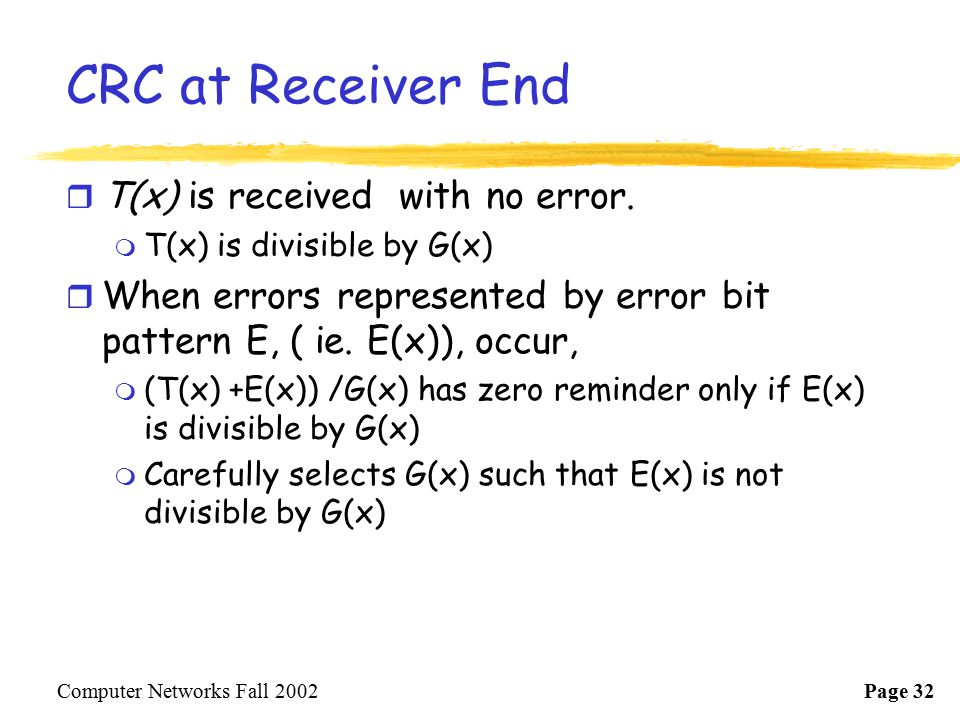 CRC at Receiver End T(x) is received with no error.
