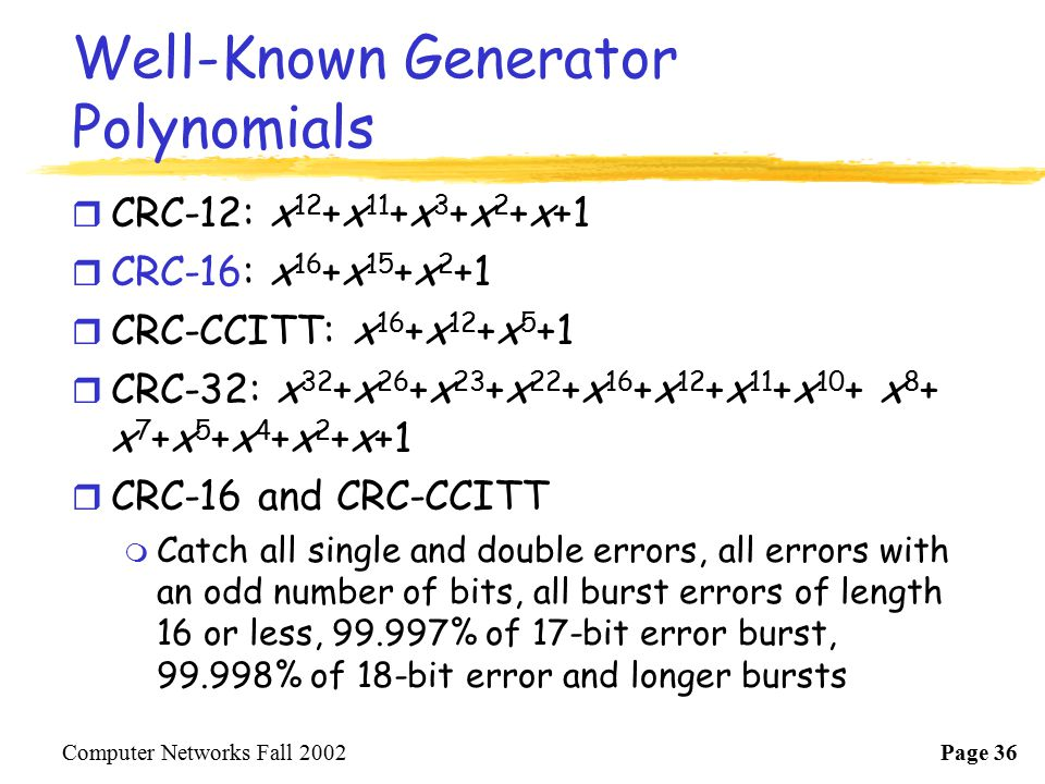 Well-Known Generator Polynomials